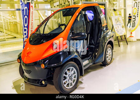 August, Japan, Tokyo. 2018,Auto exhibition of cars of the future. The car of the future . Auto car exhibition. Auto of the future, the company Tayota. - Stock Photo