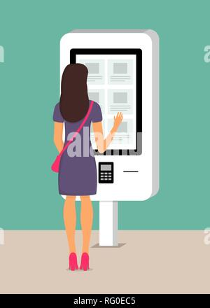 Woman using self-service payment and information electronic terminal with touch screen. Vector illustration in flat style - Stock Photo