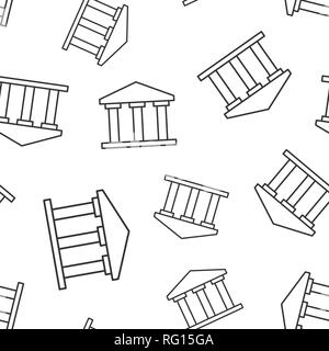 Bank building icon seamless pattern background. Government architecture vector illustration. Museum exterior symbol pattern. - Stock Photo