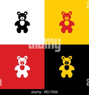 Teddy bear sign illustration. Vector. Icons of german flag on corresponding colors as background. - Stock Photo