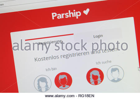 Cologne, Germany - January 24 2019: german registration screen of the online dating website parship - Stock Photo