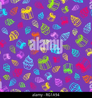 Birthday seamless pattern in hand-drawn doodle style. - Stock Photo