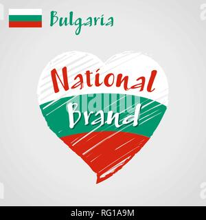 Vector flag heart of Bulgaria, National Brand. - Stock Photo
