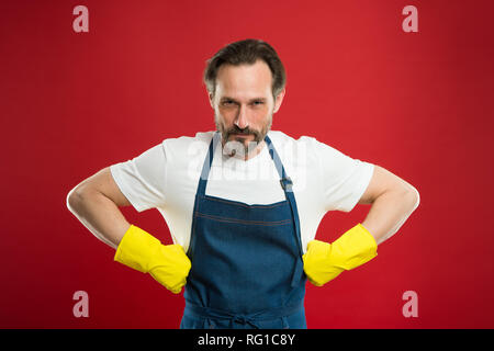 Spring cleaning. Commercial cleaning company concept. domestic helper. Maid or houseman cares about house. Bearded man.general or regular clean up. Housewife at work. - Stock Photo