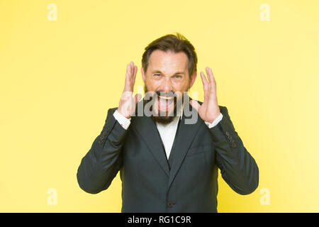 Can you hear him. Man shouting to you. Art of negotiations. Man try to persuade you in something. Mature charismatic speaker try to persuade. Public talk and art of persuasive. Oratory concept. - Stock Photo