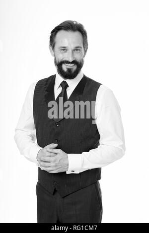 Business manager. Happy man smile in formal wear. Senior executive manager or ceo. Successful business man and leader. I shall be happy to help you. Always there for you. - Stock Photo