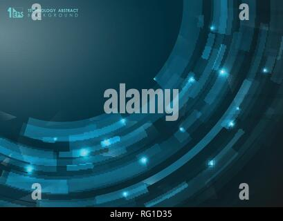Abstract gradient blue futuristic stripe curve lines. Technology presenting of art. Can use for brochure, banner, leaflet, wallpaper, annual report. V - Stock Photo