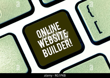Text sign showing Online Website Builder. Conceptual photo Program or tool that help you construct a website Keyboard key Intention to create computer - Stock Photo
