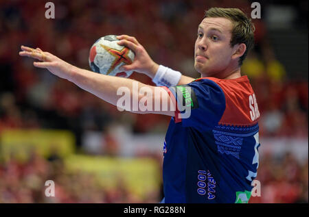 Herning, Denmark. 27th Jan, 2019. Handball: WM, final round, final, Denmark - Norway. Norway's Sander Sagosen throws the ball at the Danish goal. Credit: Axel Heimken/dpa/Alamy Live News - Stock Photo