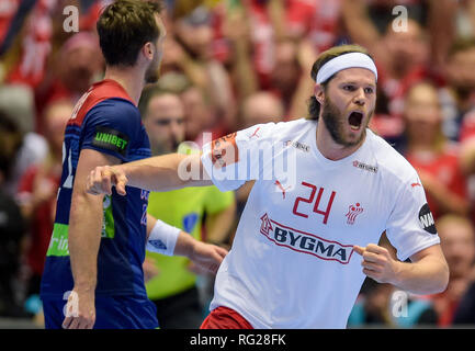 Herning, Denmark. 27th Jan, 2019. Handball: WM, final round, final, Denmark - Norway. Denmark's Mikkel Hansen cheers over a goal. Credit: Axel Heimken/dpa/Alamy Live News - Stock Photo