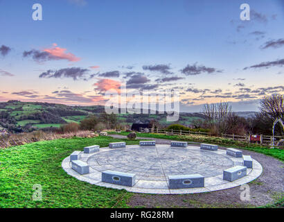 Wirksworth, Derbyshire, UK. 27th Jan, 2019. UK Weather: Skys clear as the sun sets over the StarDisc at Wirksworth before temperatures are due to drop. Wirksworth, Derbyshire Dales. Credit: Doug Blane/Alamy Live News - Stock Photo
