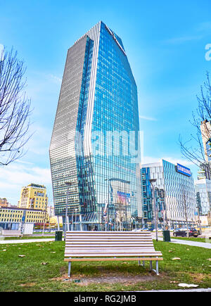 Milan, Italy - December 30, 2018. Diamond Tower in Porta Nuova Business district. View from Piazza San Gioachimo square. Milan, Lombardy, Italy. - Stock Photo