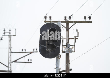 Beautiful winter detailed view with railway electricity line wires. - Stock Photo