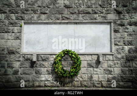 memorial stone blank funeral crown background - Stock Photo