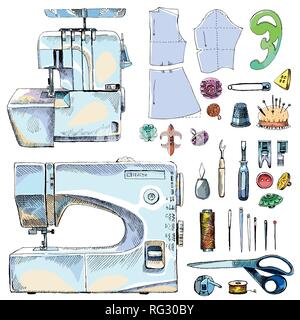 Tailor Shop Hand Drawn Equipment Set with sewing-machine - Stock Photo