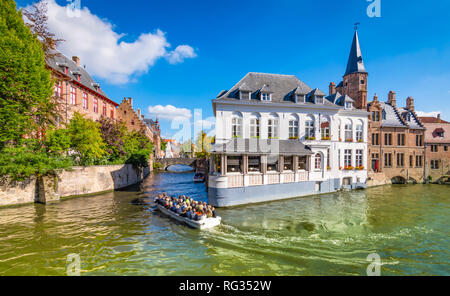 Boat trip on canal in Bruges, Belgium