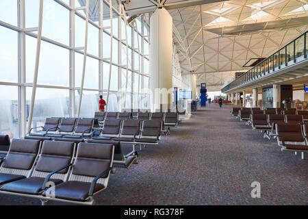 HONG KONG - CIRCA SEPTEMBER, 2016: inside Hong Kong International Airport. - Stock Photo