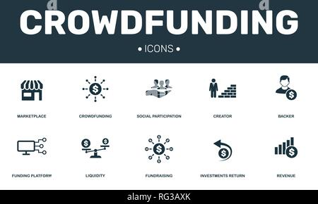 Crowdfunding set icons collection. Includes simple elements such as Marketplace, Creator, Backer, Funding platform and Fundraising premium icons. - Stock Photo
