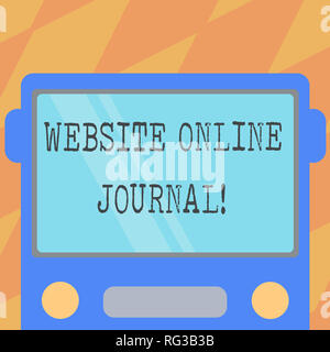Text sign showing Website Online Journal. Conceptual photo periodical publication published in electronic format Drawn Flat Front View of Bus with Bla - Stock Photo