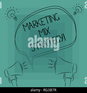 Conceptual hand writing showing Marketing Mix Strategy. Business photo text Set of governable tactical marketing tool company use Freehand Outline Ske - Stock Photo