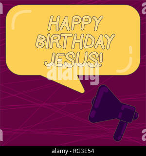 Writing note showing Happy Birthday Jesus. Business photo showcasing Celebrating the birth of the holy God Christmas Day Megaphone and Rectangular Col - Stock Photo