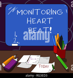 Handwriting text Monitoring Heart Beat. Concept meaning Measure or record the heart rate in real time Mounted Blank Color Blackboard with Chalk and Wr - Stock Photo