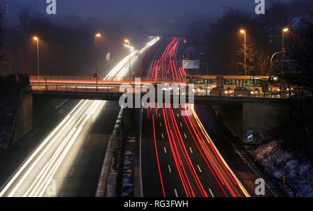 DEU, Germany : Essen, motorway Autobahn A52. Rushhour in the evening. - Stock Photo