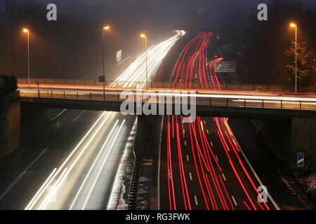DEU, Germany : Essen, motorway Autobahn A52. Rushhour in the evening. - Stock Photo