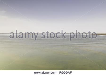 fairway through wadden sea, wangerooge, east frisian islands, friesland district, lower saxon wadden sea national park, lower saxony, germany - Stock Photo