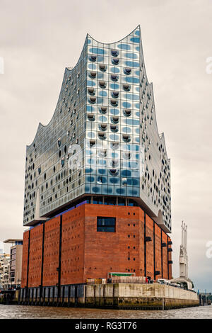 Elbphilharmonie or elbe philharmonic hall, concert hall in Hamburg, Germany. Attraction, entertainment, culture. Architecture, structure design Vacation travel wanderlust - Stock Photo