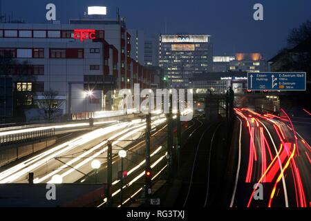 DEU, Federal Republic of Germany, Essen : Motorway A 40, city centr of Essen. - Stock Photo