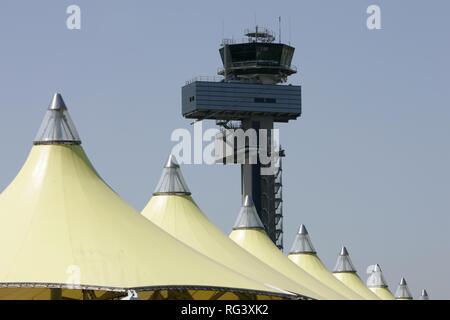 DEU, Germany, Duesseldorf: Tower, air traffic control at the Duesseldorf International Airport. - Stock Photo