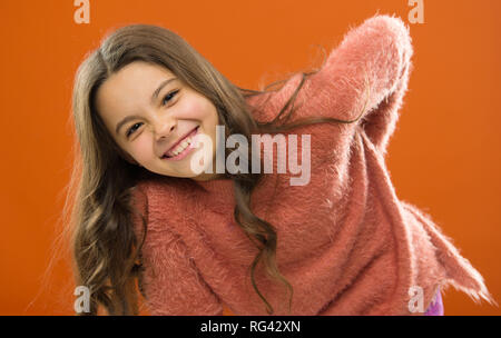 Pure joy. Small girl child. Hairdresser for kids. childrens day. Portrait of happy little child. Kid fashion. childhood happiness. Family. Happy little girl with long hair. Hurray. - Stock Photo