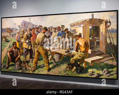 Prospectors writing a letter to the creator of the great constitution, 1937. Oil on canvas. 249 x 500 cm. Russian museum Málaga, Spain. - Stock Photo