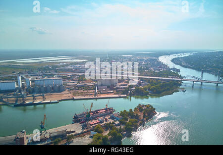 view of the navigable river with docks from the air - Stock Photo