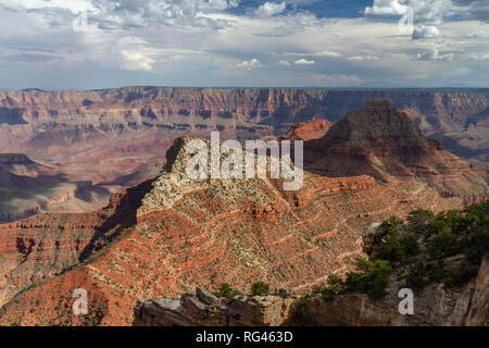 View from the Cape Royal towards Freya Castle and Vishnu Temple & the Grand Canyon (looking approx SE), Grand Canyon North Rim, AZ, USA.. - Stock Photo