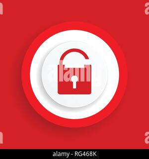 Open padlock vector icon, red secure sign - Stock Photo