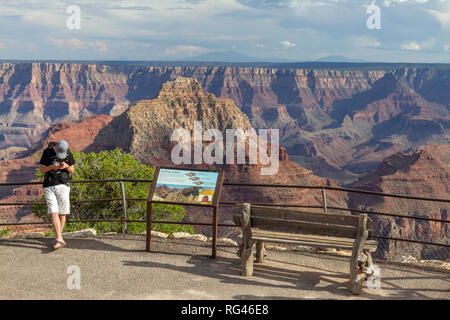 A young visitor looks at his phone with a staggering view behind, Cape Royal viewpoint, Grand Canyon North Rim, Arizona, United States. - Stock Photo