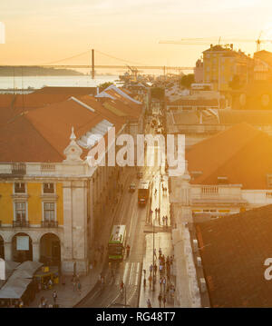 Aerial view of Lisbon Old Town street at sunset, Portugal - Stock Photo