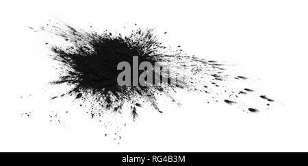 Black printer toner stain isolated on white - Stock Photo