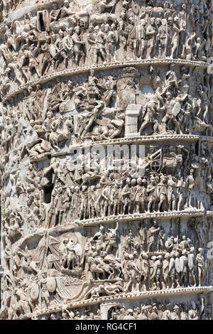 Spiral relief column details of Marcus Aurelius, Rome, Italy, Europe - Stock Photo