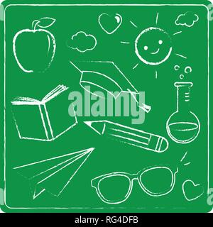 School themed illustrations drawn with chalk on a green chalkboard. Vector illustration - Stock Photo