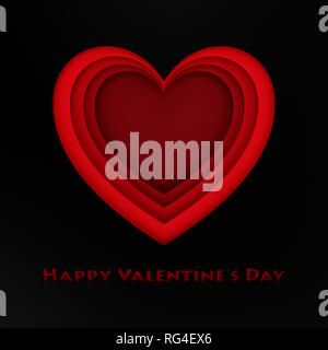 Happy Valentines Day concept. Cut red heart in black paper - Stock Photo