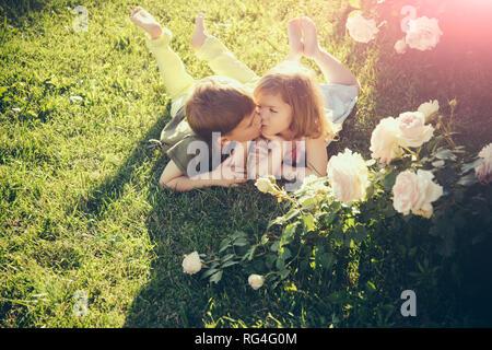 Boy kissing girl on green grass under rose bush - Stock Photo