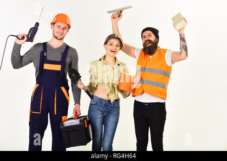 Achieving best results. Construction workers team. Constructing engineers or architects. Professional working team. Construction technicians with - Stock Photo