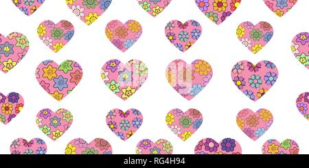 Seamless pattern made from abstract hearts. Heart from different spring flowers. Isolated elements on a white background. Vector hand drawing illustra - Stock Photo