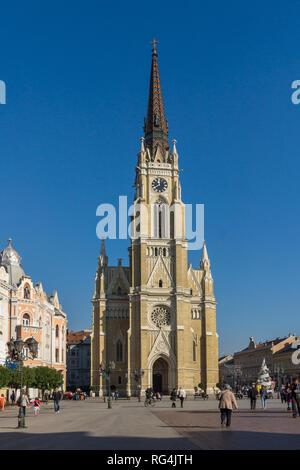 NOVI SAD, VOJVODINA, SERBIA - NOVEMBER 11, 2018: Catholic Cathedral The Name of Mary Church in the City of Novi Sad, Vojvodina, Serbia - Stock Photo