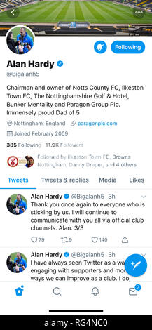 Nottingham, U.K. 27th January 2019, Notts County chairman and owner, Alan Hardy, tweets an apology after accidently tweeting an intimate image from his personal Twitter account. Mr Hardy has been owner and chairman of the World's oldest football league club since 2017. Credit: Mark Richardson/Alamy Live News - Stock Photo