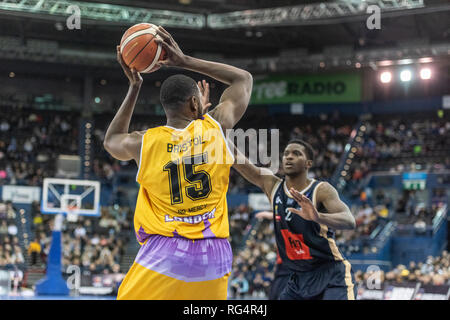 Birmingham, UK. 27th Jan, 2019. BBL: Cup Final 2019 at Arena Birmingham An exciting British Basketball Cup Final where London Lions beat Glasgow Rocks. London Lion's Kervin Bristol (15) looks or a team mate during play. (c) Credit: pmgimaging/Alamy Live News - Stock Photo