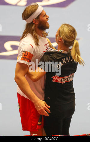 Herning, Denmark. 27th Jan, 2019. Mikkel Hansen (Denmark) during the IHF Men's World Championship 2019, final round handball match between Norway and Denmark on January 27, 2019 at Jyske Bank Boxen in Herning, Denmark - Photo Laurent Lairys/DPPI Credit: Laurent Lairys/Agence Locevaphotos/Alamy Live News - Stock Photo